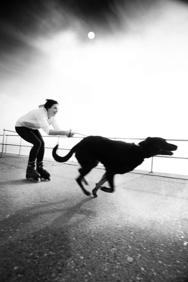 Black and white photo of a girl wearing rollerskates being pulled along by a dog.